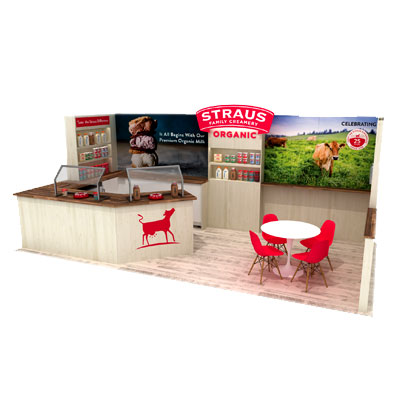 Custom Tradeshow Booth Design for Straus Organic Family Creamery 2019