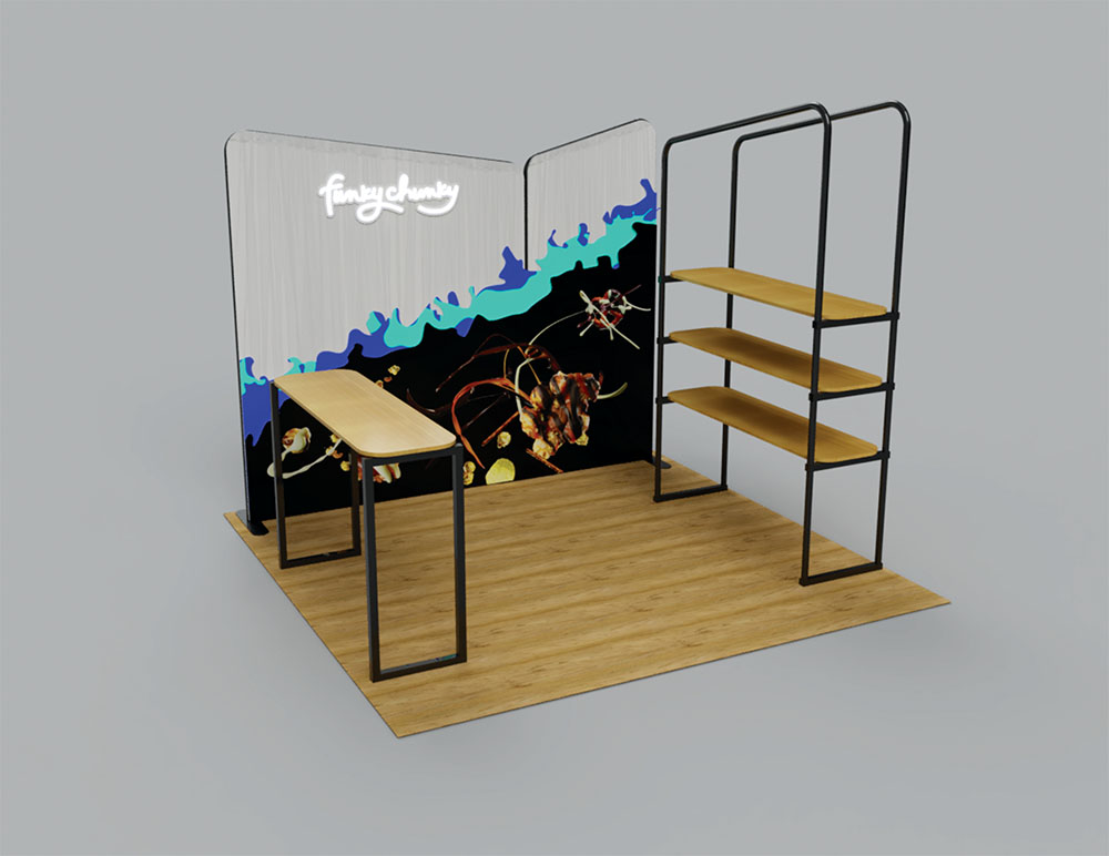 Tradeshow Booth Design for Funky Chunky, Version 2