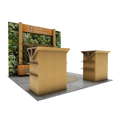 tradeshow booth design render for Lazarus naturals